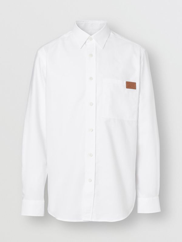 Logo Detail Cotton Oxford Shirt in White - Men | Burberry - cell image 3
