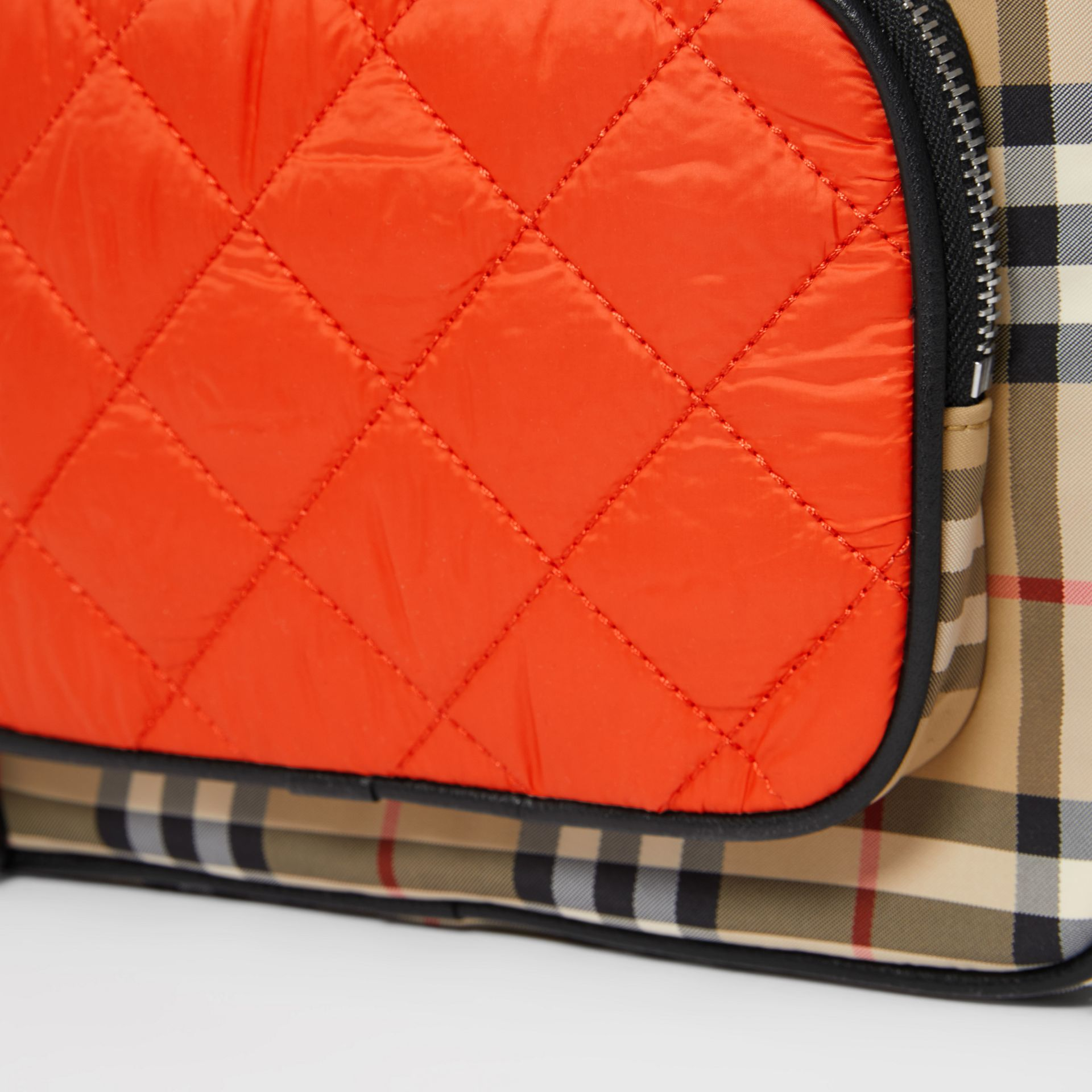 Colour Block Pocket Detail Vintage Check Backpack in Ice Pink/orange Red - Children | Burberry United Kingdom - gallery image 1