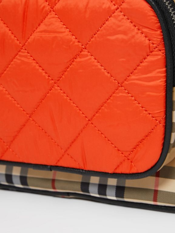 Colour Block Pocket Detail Vintage Check Backpack in Ice Pink/orange Red - Children | Burberry - cell image 1