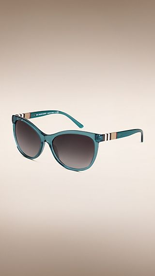 Check Detail Cat-eye Sunglasses Teal