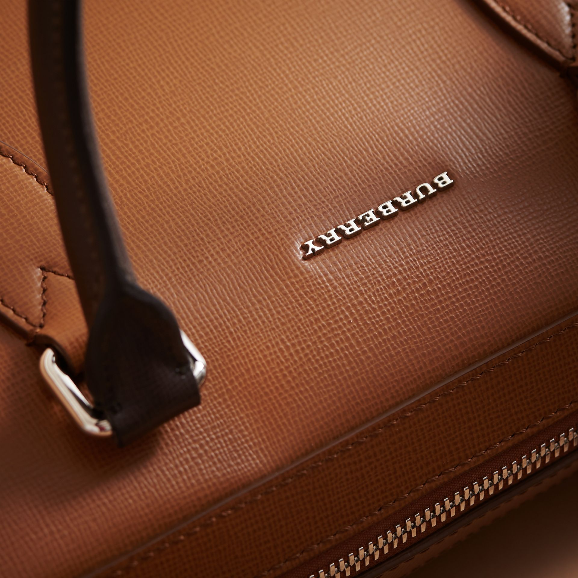 London Leather Briefcase in Tan/chocolate - Men | Burberry - gallery image 7