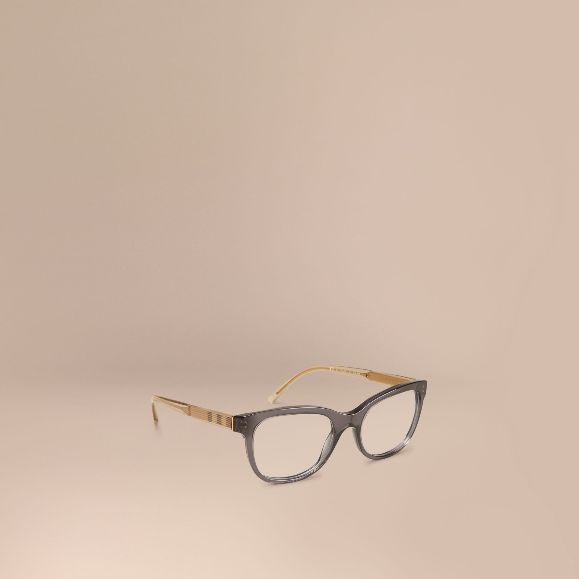 Check Detail Oval Optical Frames Dark Grey - gallery image 1