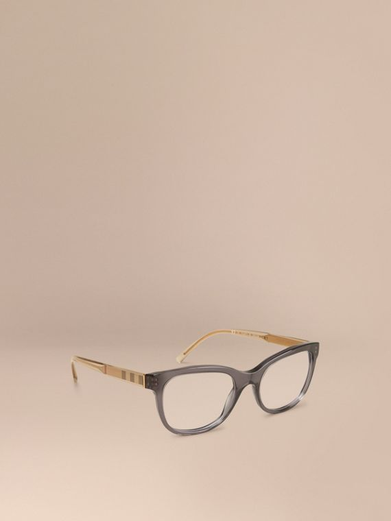 Check Detail Oval Optical Frames Dark Grey