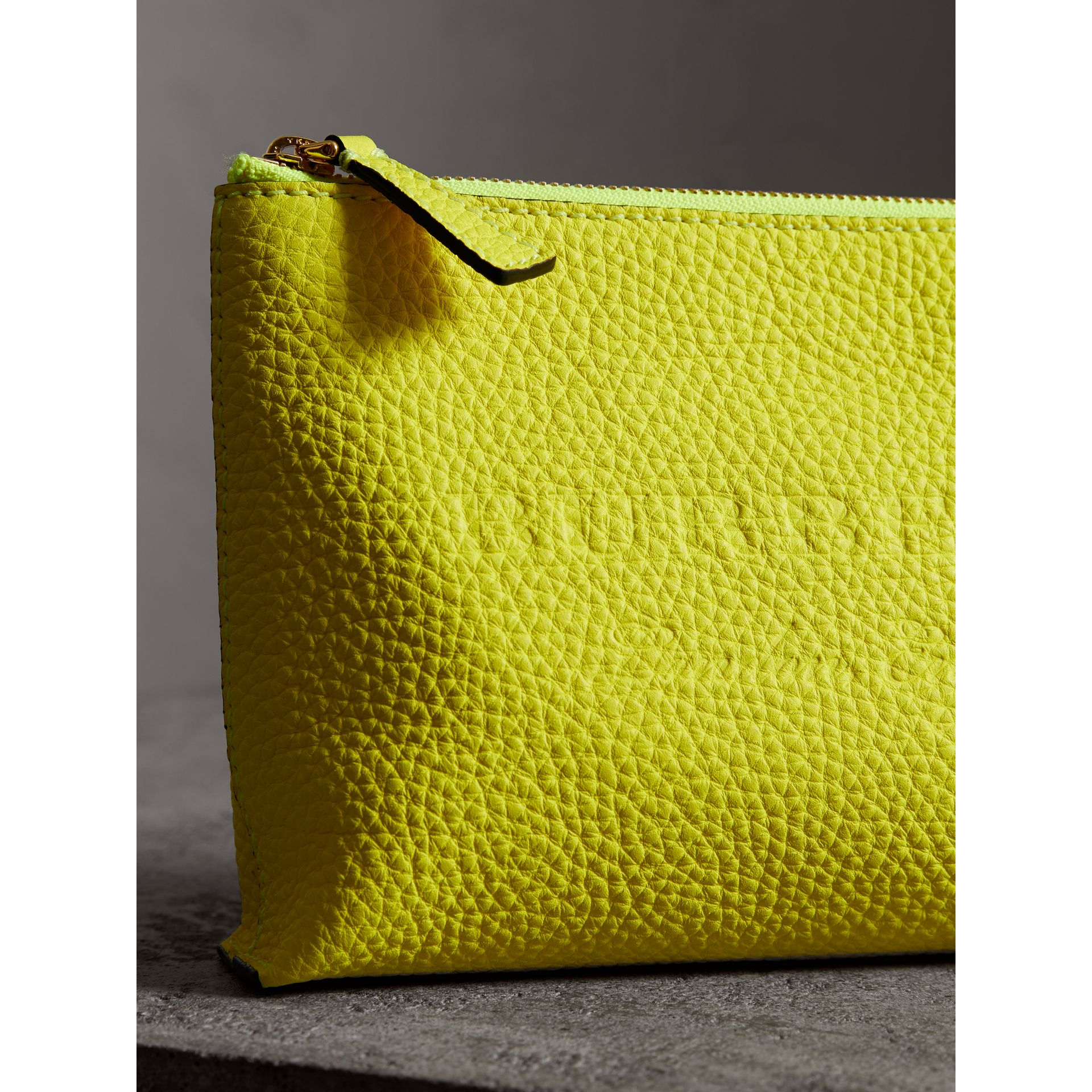 Medium Embossed Leather Zip Pouch in Bright Yellow | Burberry United Kingdom - gallery image 1