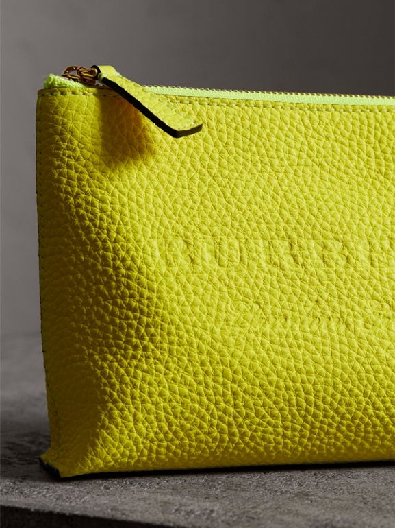 Medium Embossed Leather Zip Pouch in Bright Yellow | Burberry - cell image 1