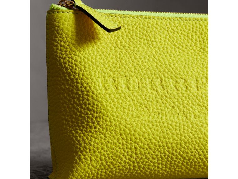 Medium Embossed Leather Zip Pouch in Bright Yellow | Burberry United Kingdom - cell image 1