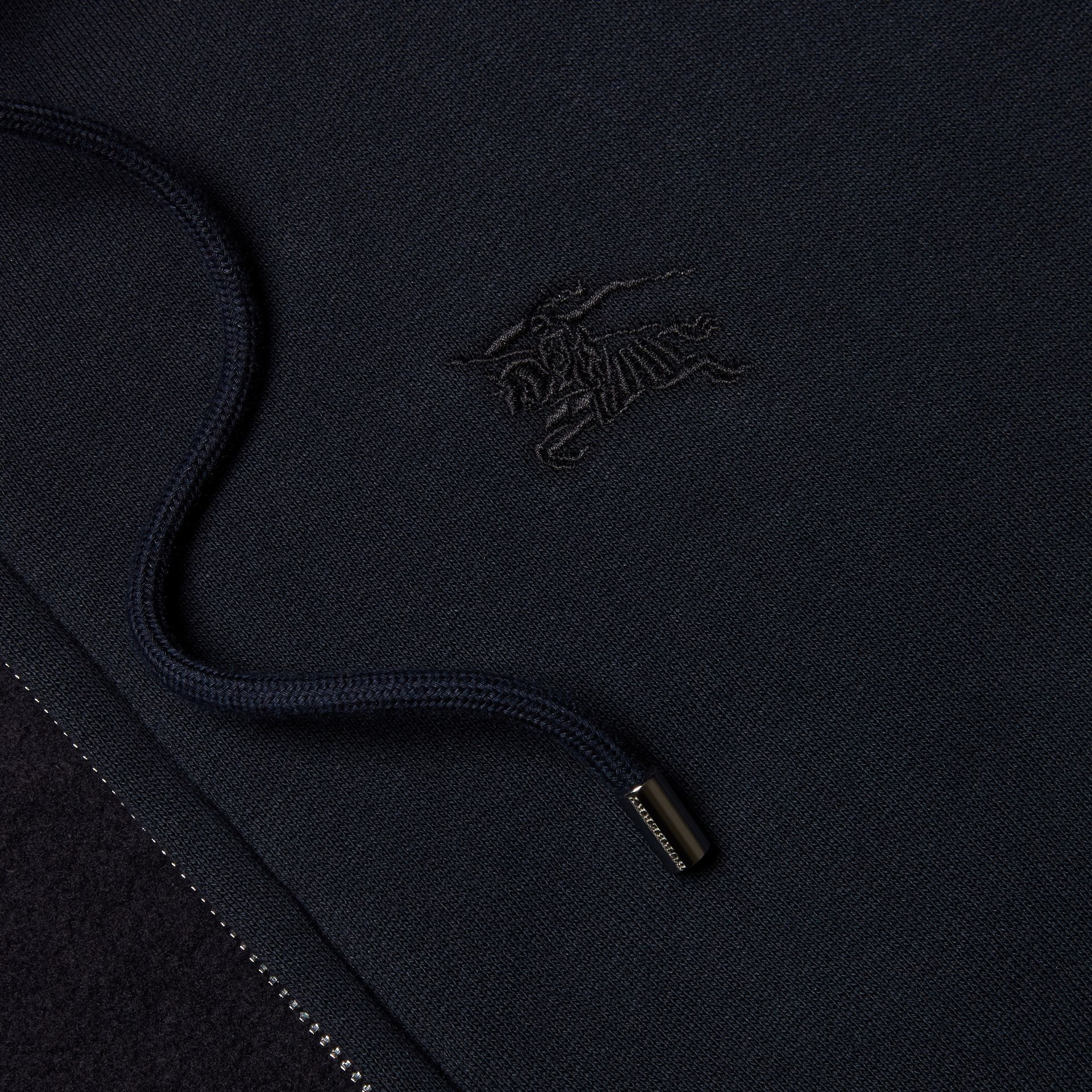 Hooded Cotton Jersey Top Navy - gallery image 2