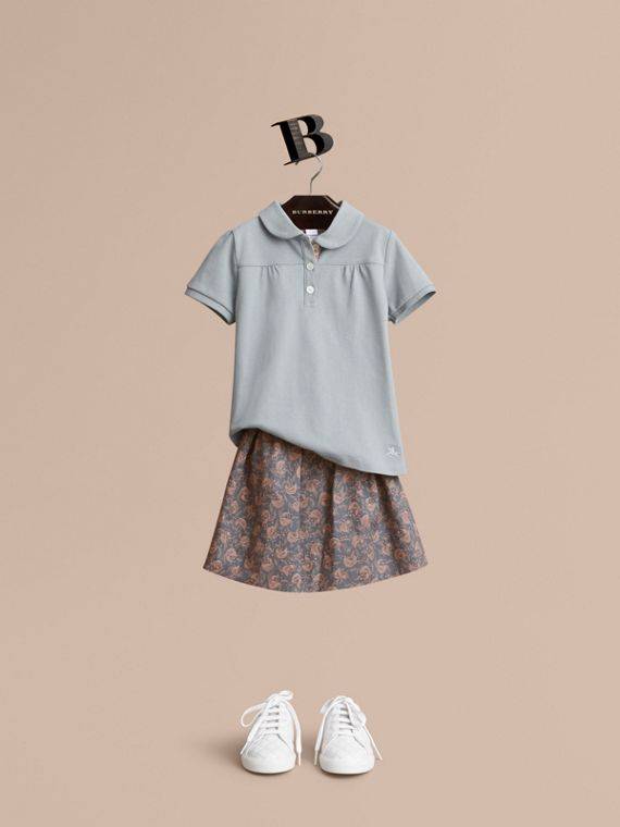 Peter Pan Collar Cotton Piqué Polo Shirt in Pale Slate Blue - Girl | Burberry