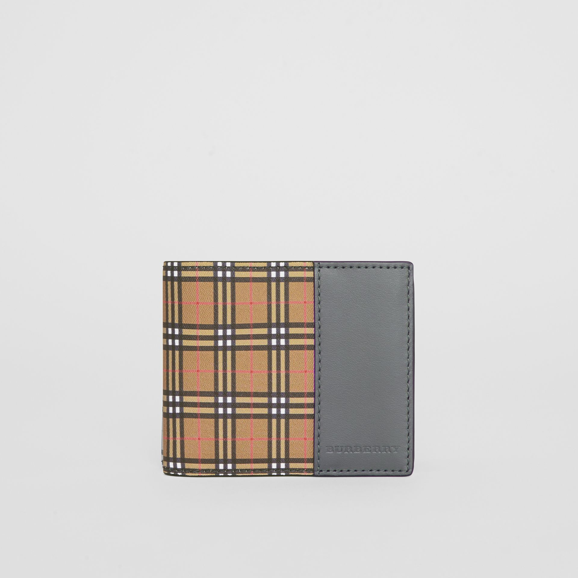 Small Scale Check and Leather Bifold Wallet in Antique Yellow/dark Grey - Men | Burberry - gallery image 2