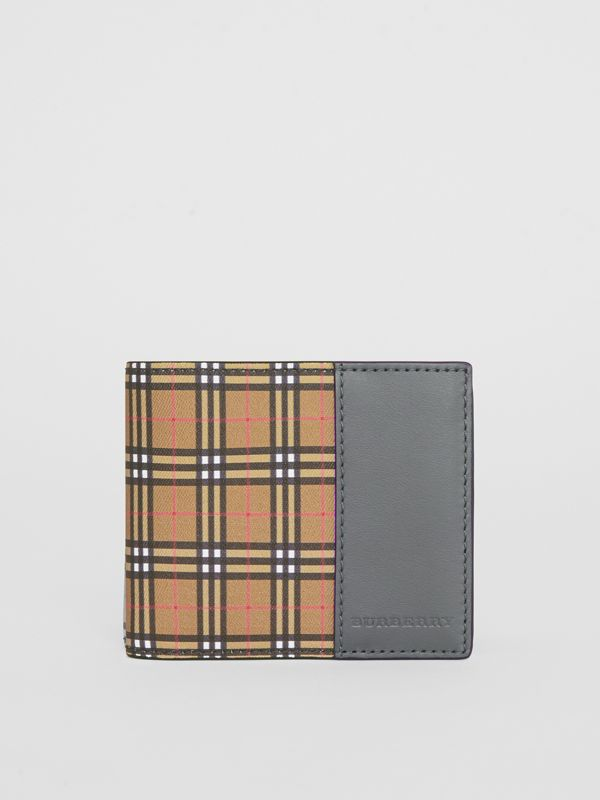 Small Scale Check and Leather Bifold Wallet in Antique Yellow/dark Grey - Men | Burberry - cell image 2