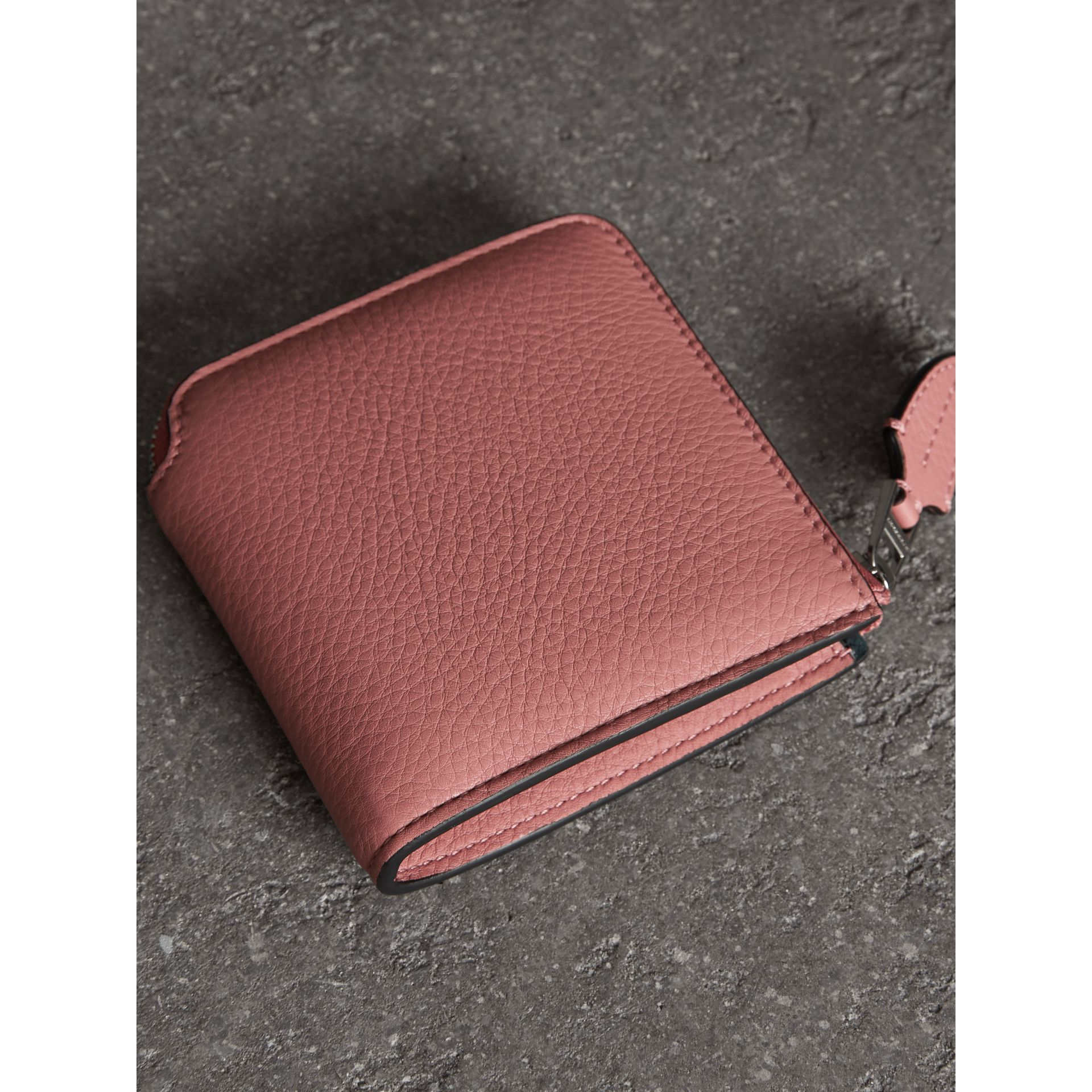 Grainy Leather Square Ziparound Wallet in Dusty Rose - Women | Burberry - gallery image 2