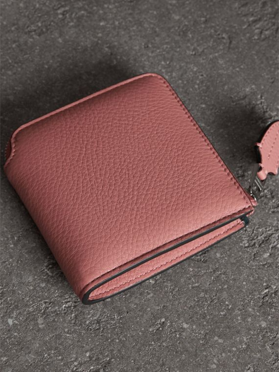 Grainy Leather Square Ziparound Wallet in Dusty Rose - Women | Burberry - cell image 2