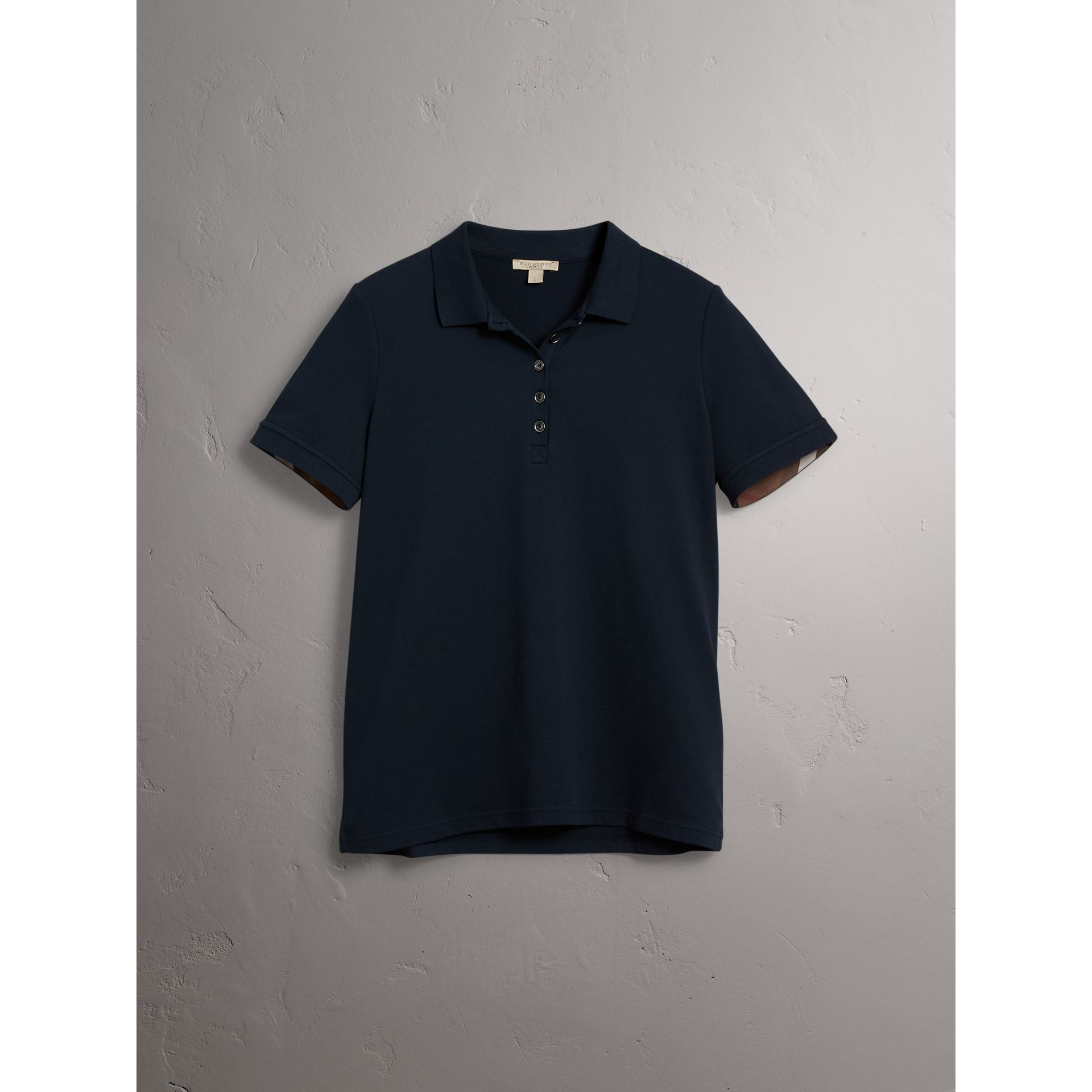 Check Trim Stretch Cotton Piqué Polo Shirt in Navy - Women | Burberry - gallery image 3