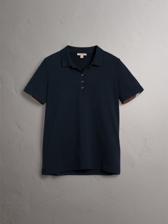 Check Trim Stretch Cotton Piqué Polo Shirt in Navy - Women | Burberry Singapore - cell image 3