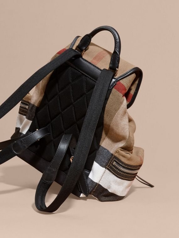 The Medium Rucksack in Canvas Check and Leather - cell image 3