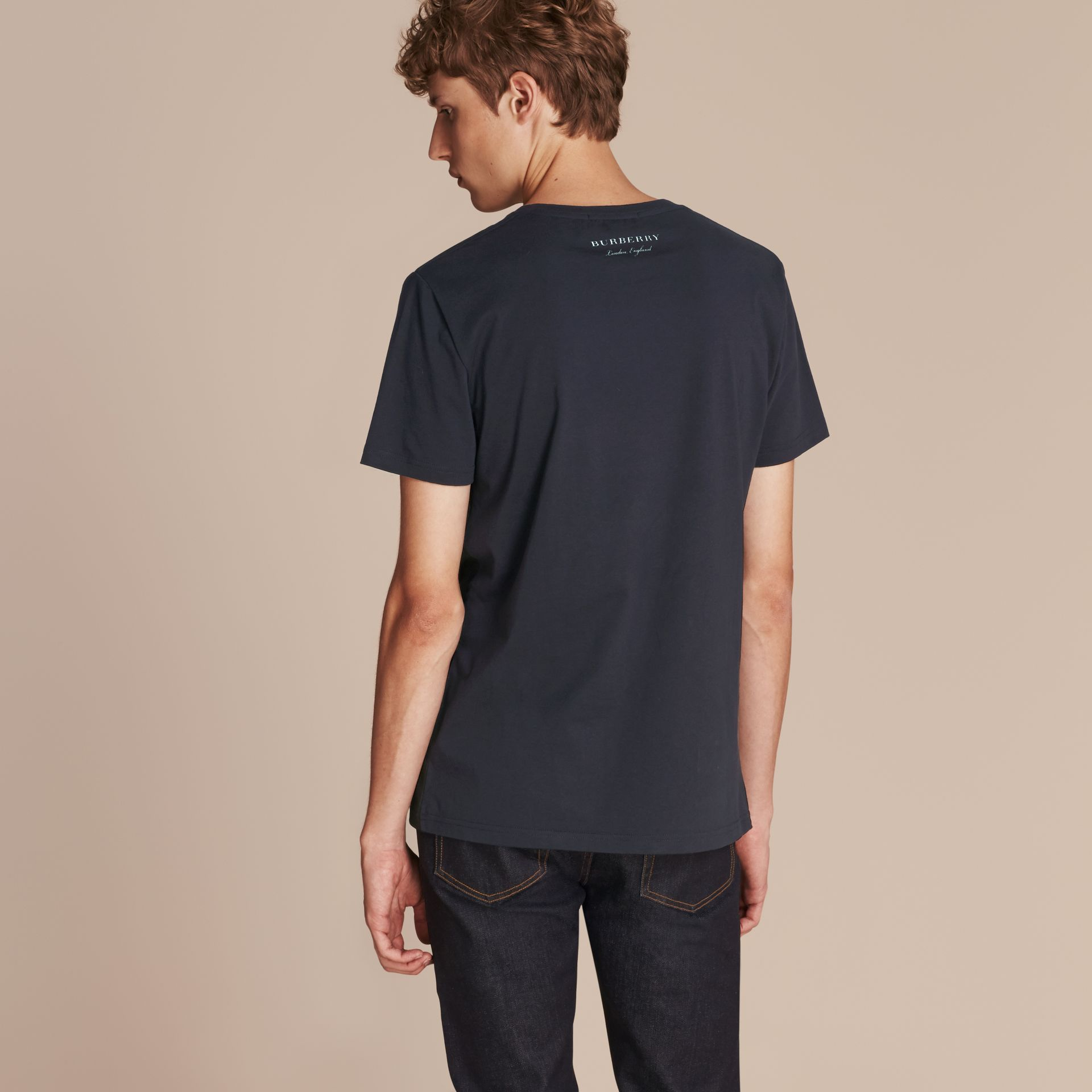 Abstract Check Print Cotton T-shirt Navy - gallery image 3