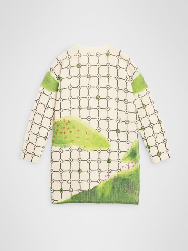 Flower Hill Print Cashmere Sweater Dress in Ivory | Burberry United Kingdom - cell image 3