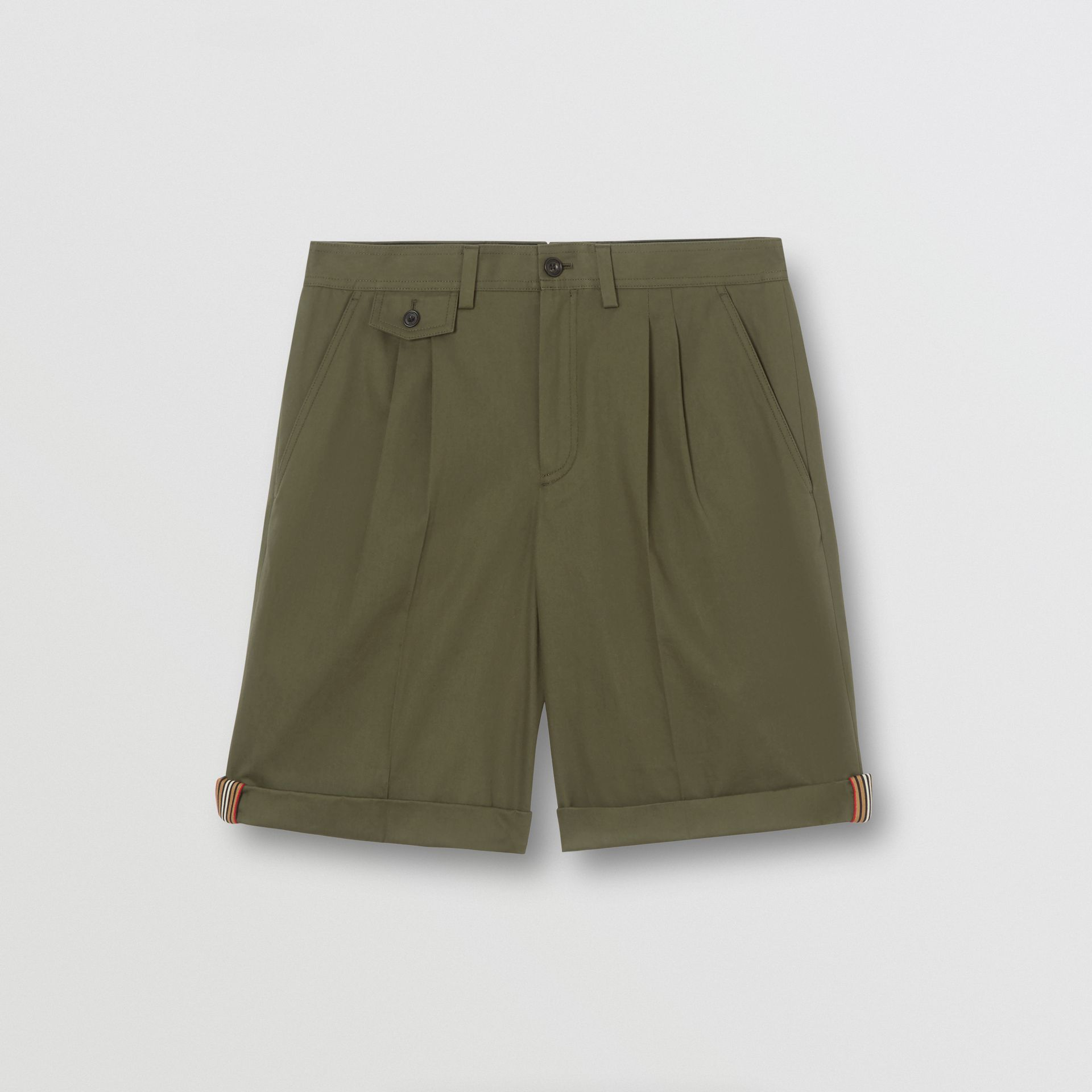 Icon Stripe Detail Cotton Twill Tailored Shorts in Olive - Men | Burberry - gallery image 3