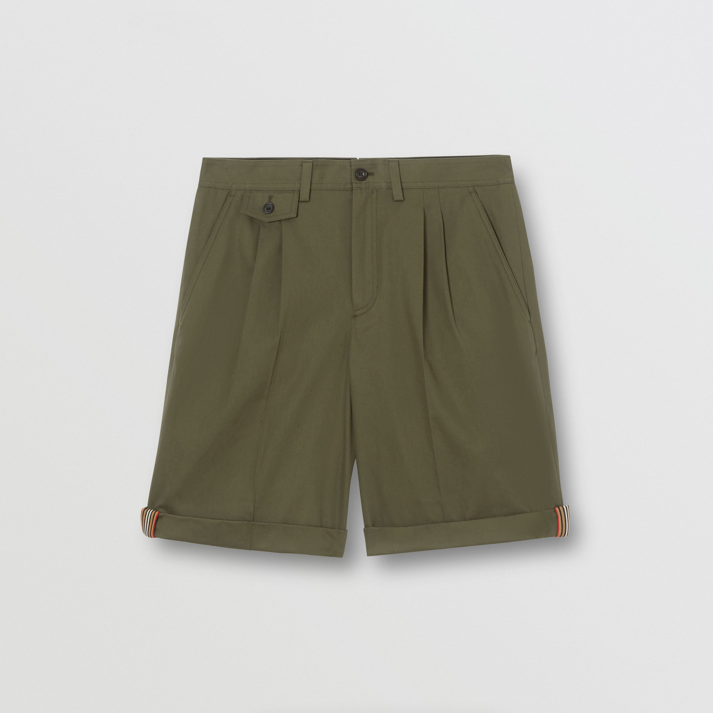 Icon Stripe Detail Cotton Twill Tailored Shorts in Olive - Men | Burberry - 4