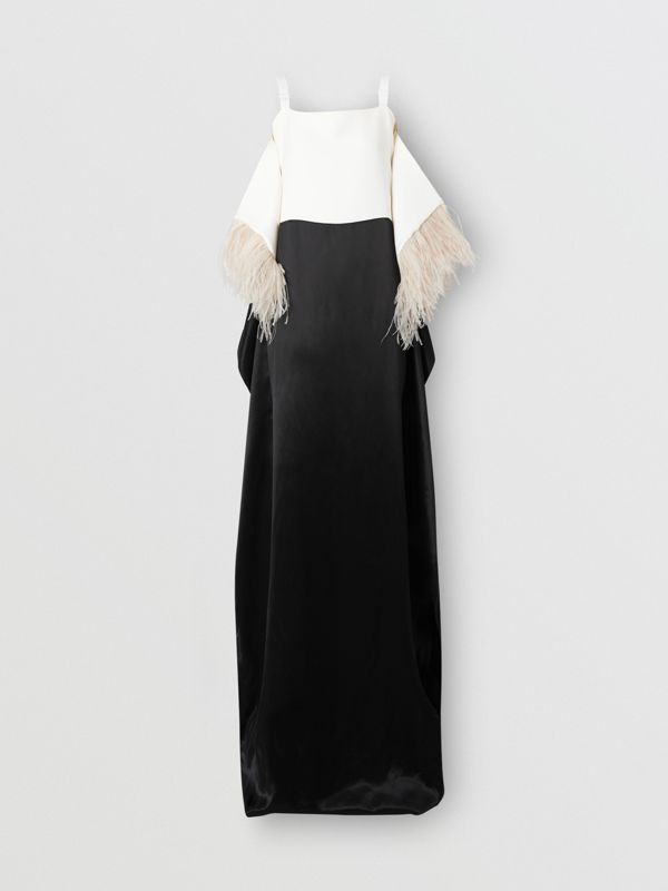 Feather Trim Crepe and Silk Satin Gown in Black - Women | Burberry - cell image 3