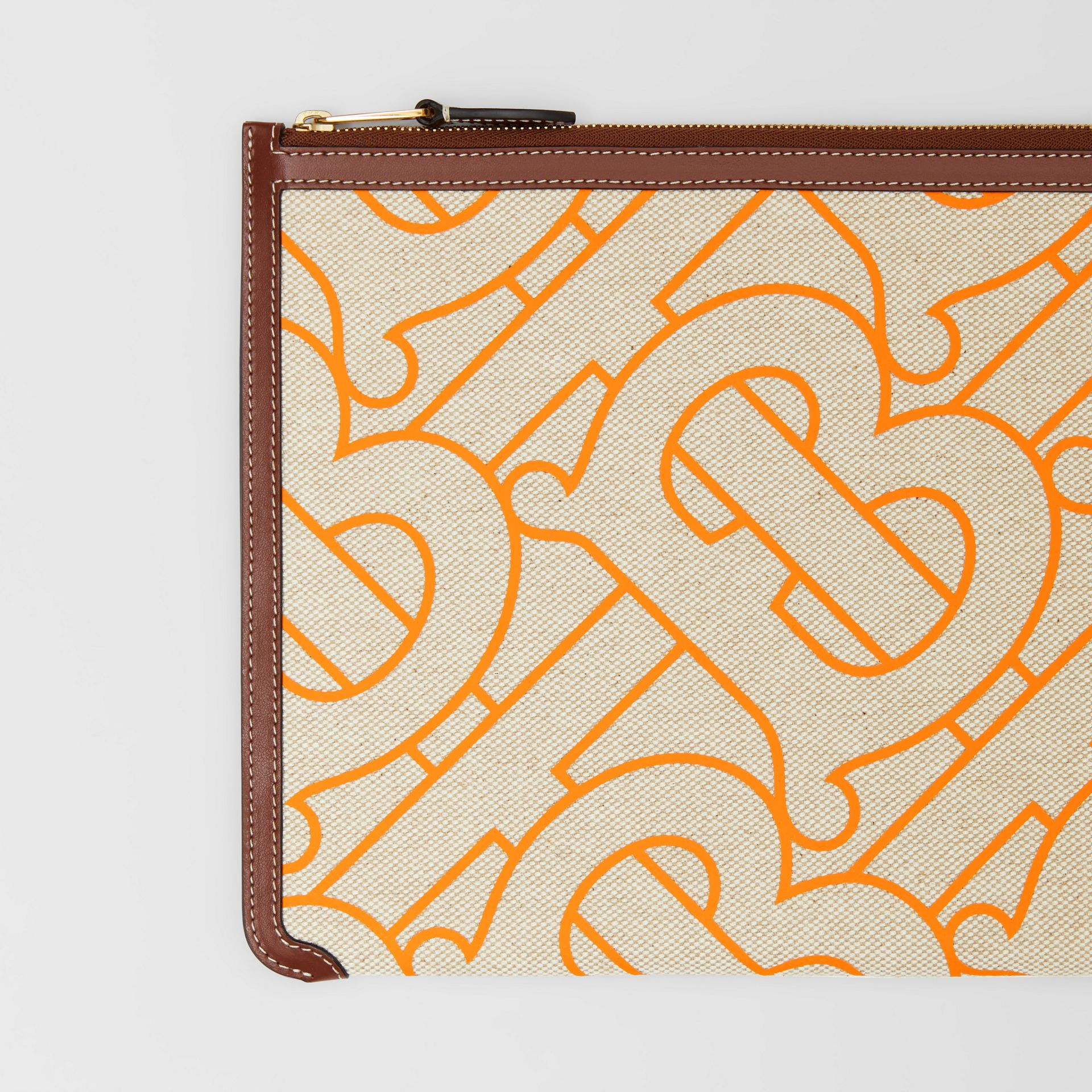 Monogram Motif Canvas and Leather Pouch in Natural/orange - Women | Burberry United Kingdom - gallery image 1