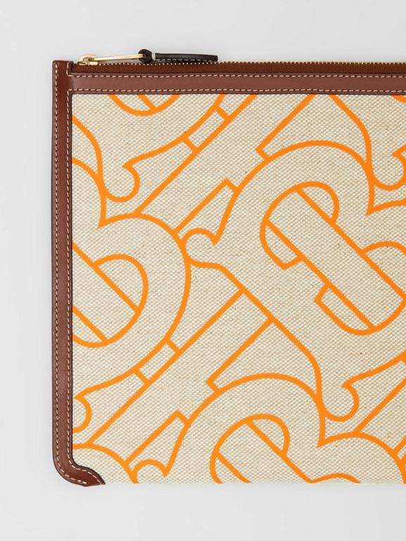 Monogram Motif Canvas and Leather Pouch in Natural/orange - Women | Burberry United Kingdom - cell image 1