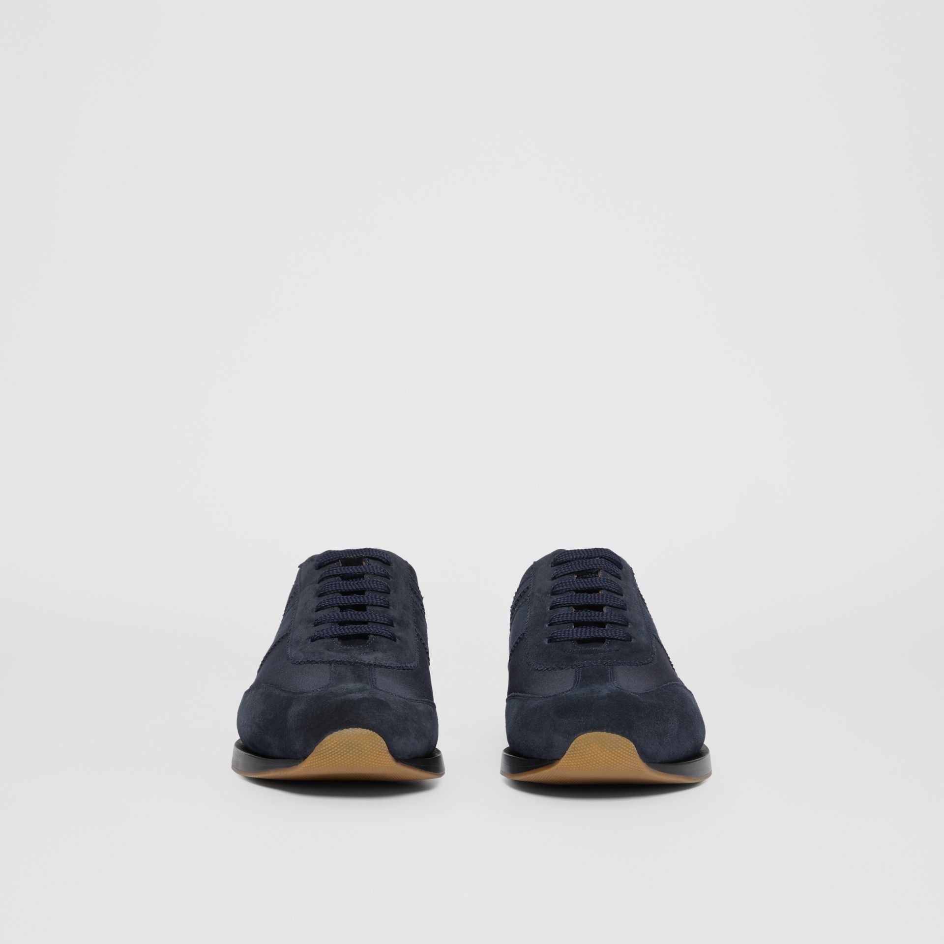 Neoprene Panel Suede Lace-up Shoes in Navy - Men | Burberry United Kingdom - gallery image 2