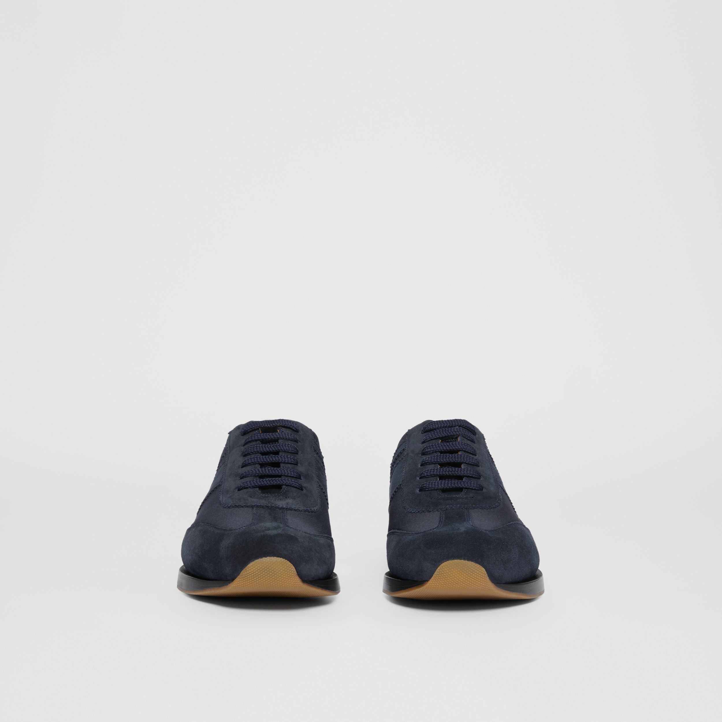 Neoprene Panel Suede Lace-up Shoes in Navy | Burberry - 4