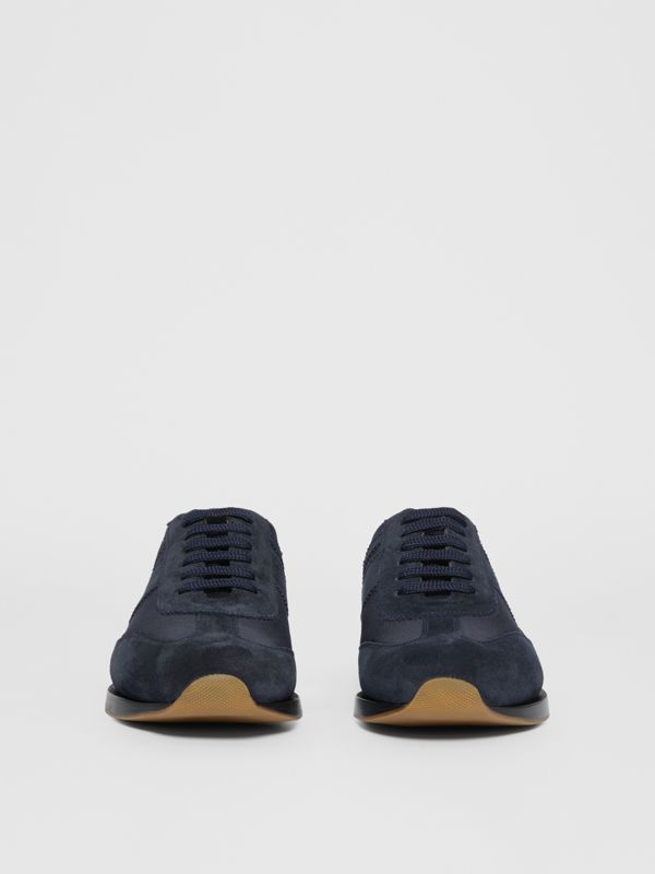 Neoprene Panel Suede Lace-up Shoes in Navy - Men | Burberry United Kingdom - cell image 2