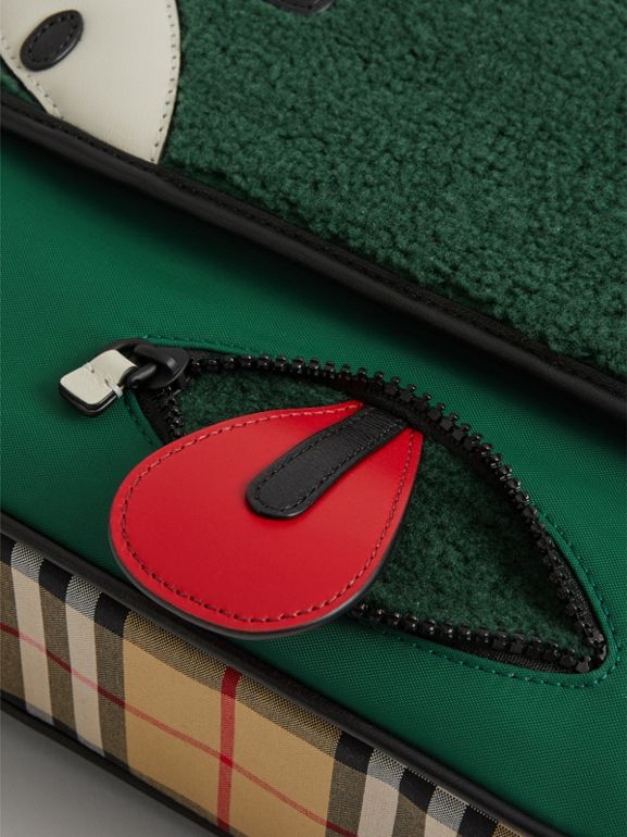Monster Faux Shearling and Vintage Check Satchel in Pine Green | Burberry - cell image 1