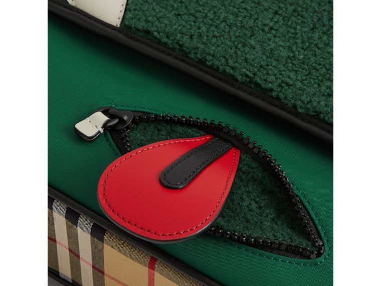 Monster Faux Shearling and Vintage Check Satchel in Pine Green | Burberry United Kingdom - cell image 1