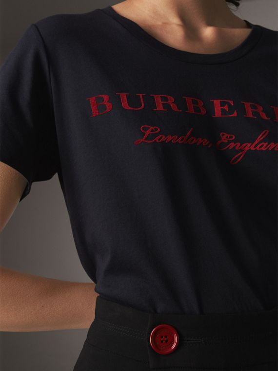 Printed Cotton T-shirt in True Navy - Women | Burberry - cell image 3