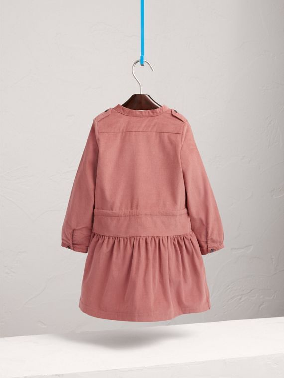 Gathered and Tie Waist Cotton Corduroy Dress in Rosewood - Girl | Burberry - cell image 3