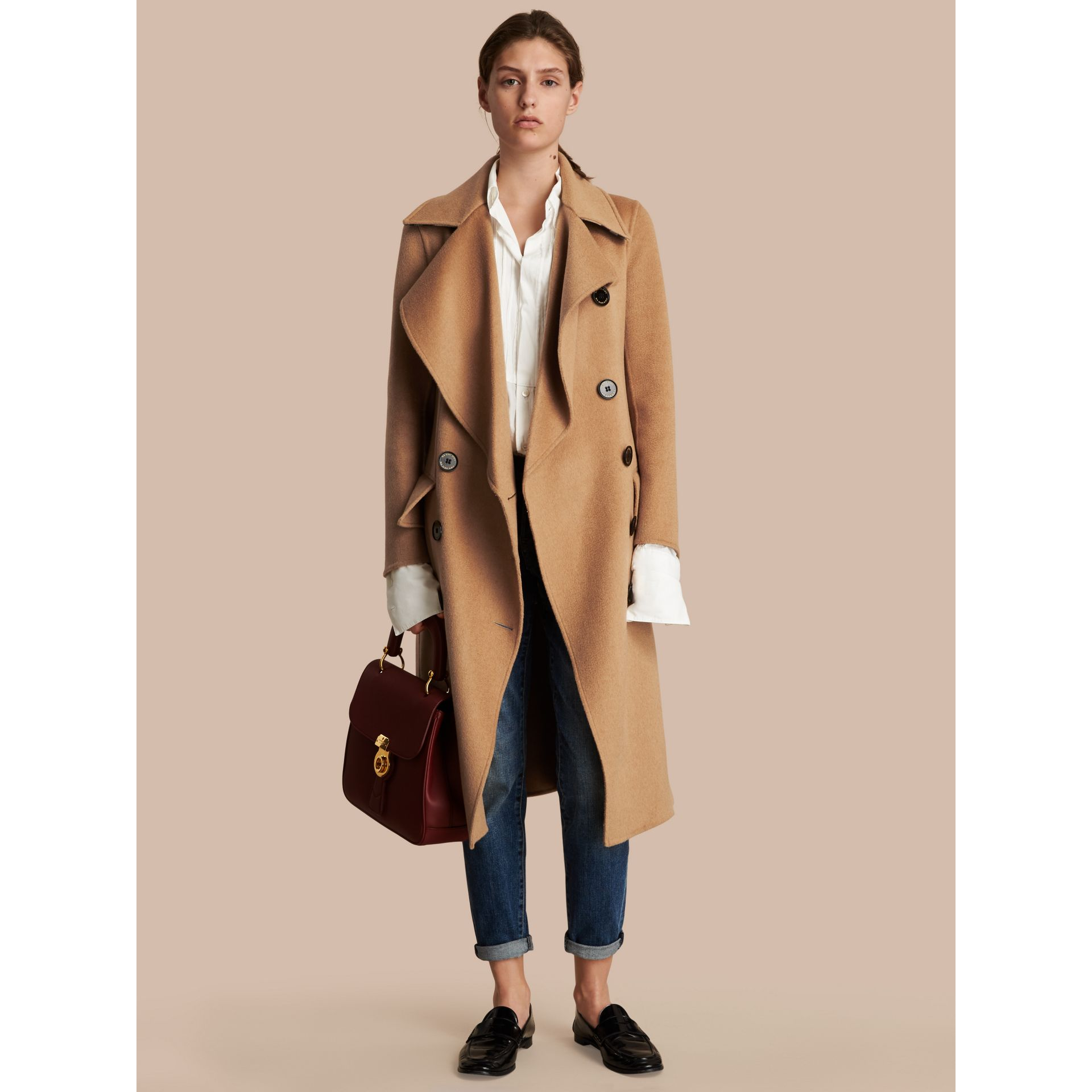 Draped Front Camel Hair and Wool Tailored Coat - Women | Burberry - gallery image 1