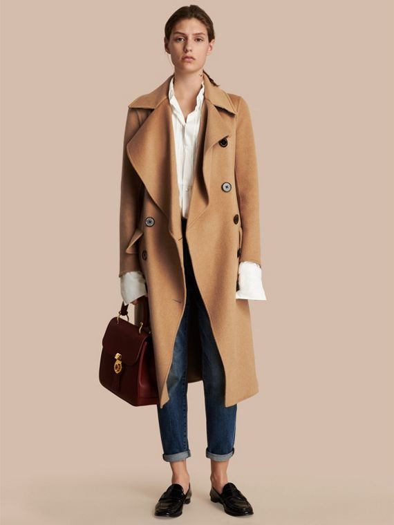 Draped Front Camel Hair and Wool Tailored Coat