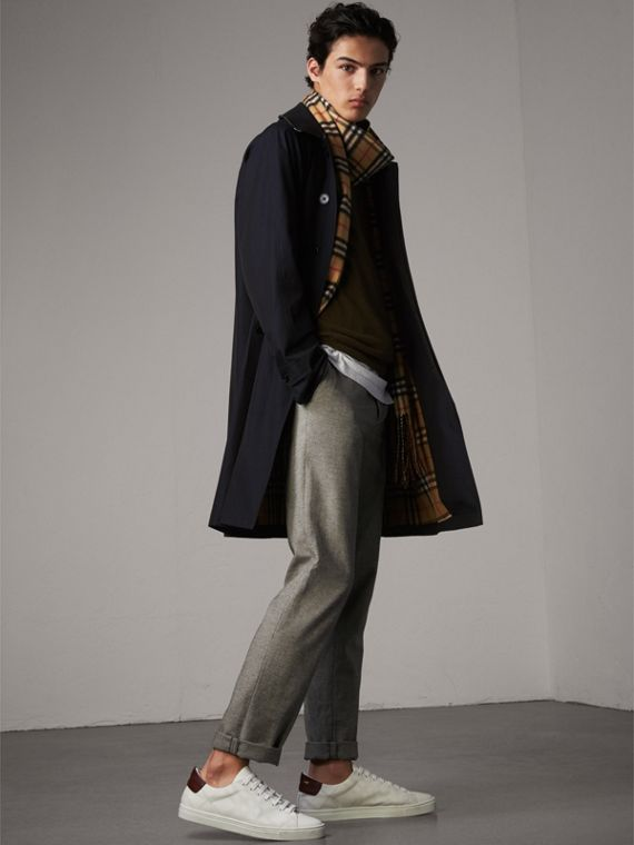 The Camden – Long Car Coat in Blue Carbon - Men | Burberry