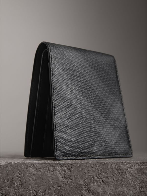 London Check International Bifold Coin Wallet in Charcoal/black - Men | Burberry Canada - cell image 2