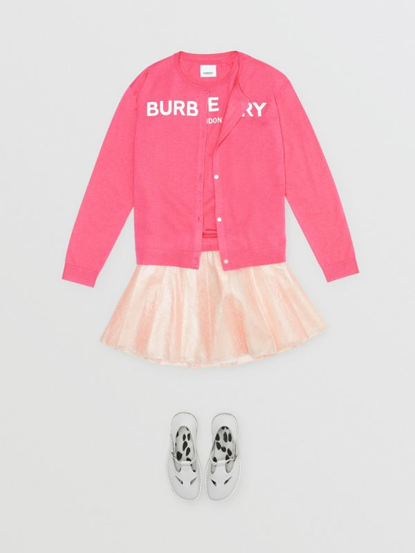 Logo Print Cashmere Two-piece Set in Fuchsia Pink - Children | Burberry - cell image 2