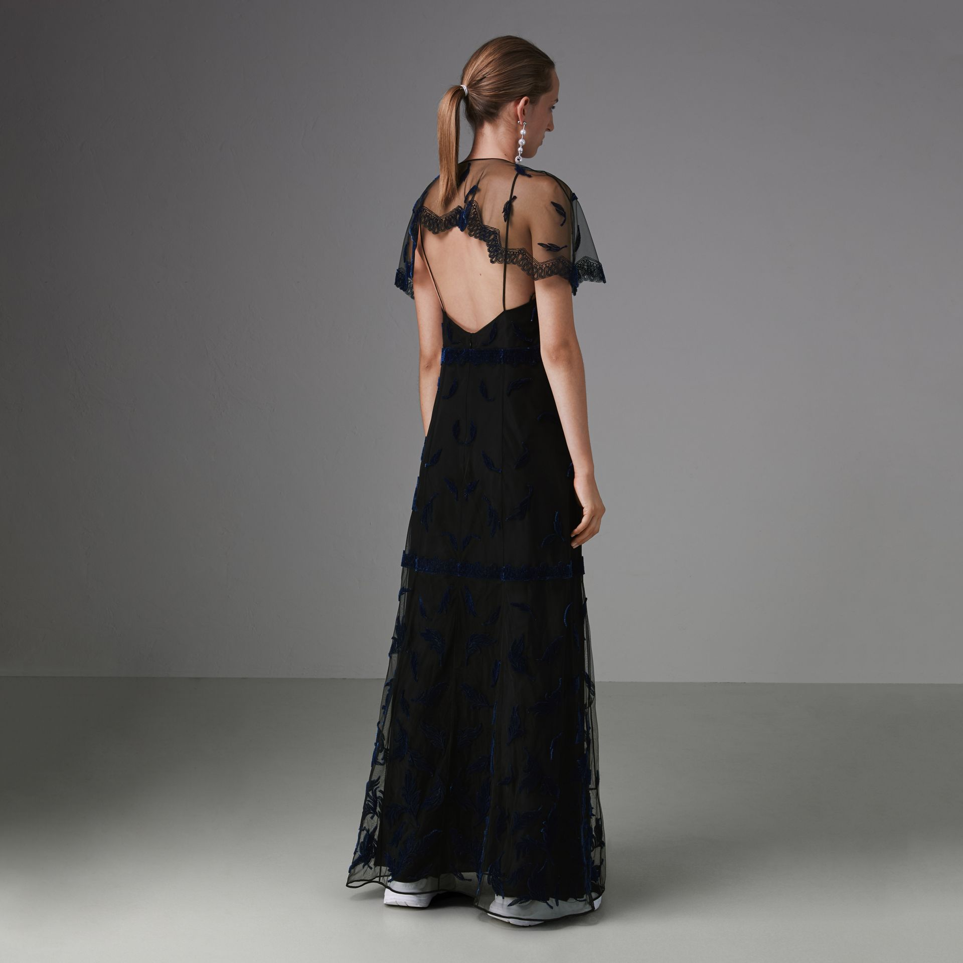 Velvet Leaf Cap-sleeve Gown in Black/blue - Women | Burberry Singapore - gallery image 2