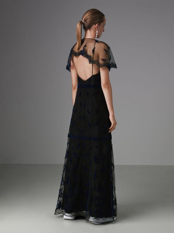 Velvet Leaf Cap-sleeve Gown in Black/blue - Women | Burberry Singapore - cell image 2