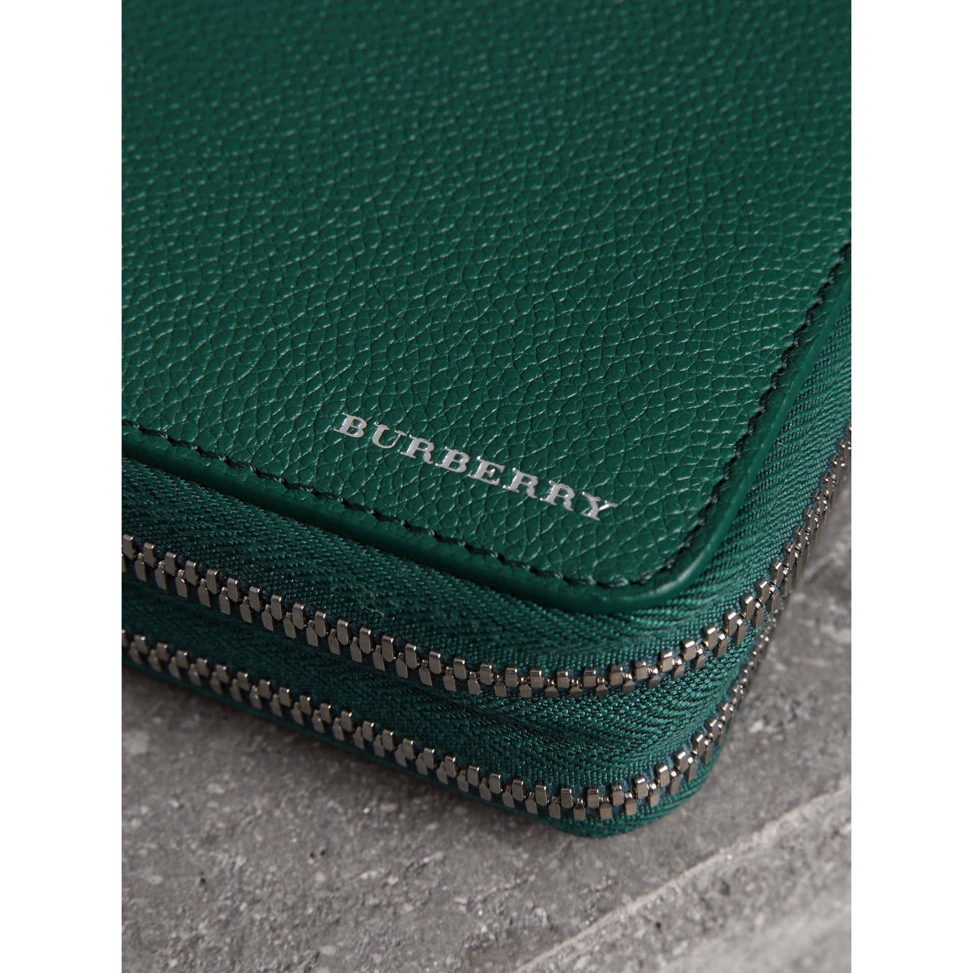 Grainy Leather Travel Wallet in Dark Cyan - Men | Burberry - gallery image 1