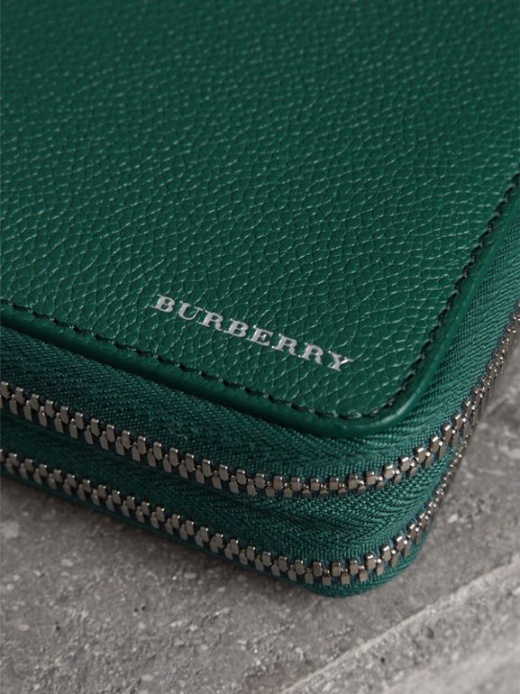Grainy Leather Travel Wallet in Dark Cyan - Men | Burberry - cell image 1