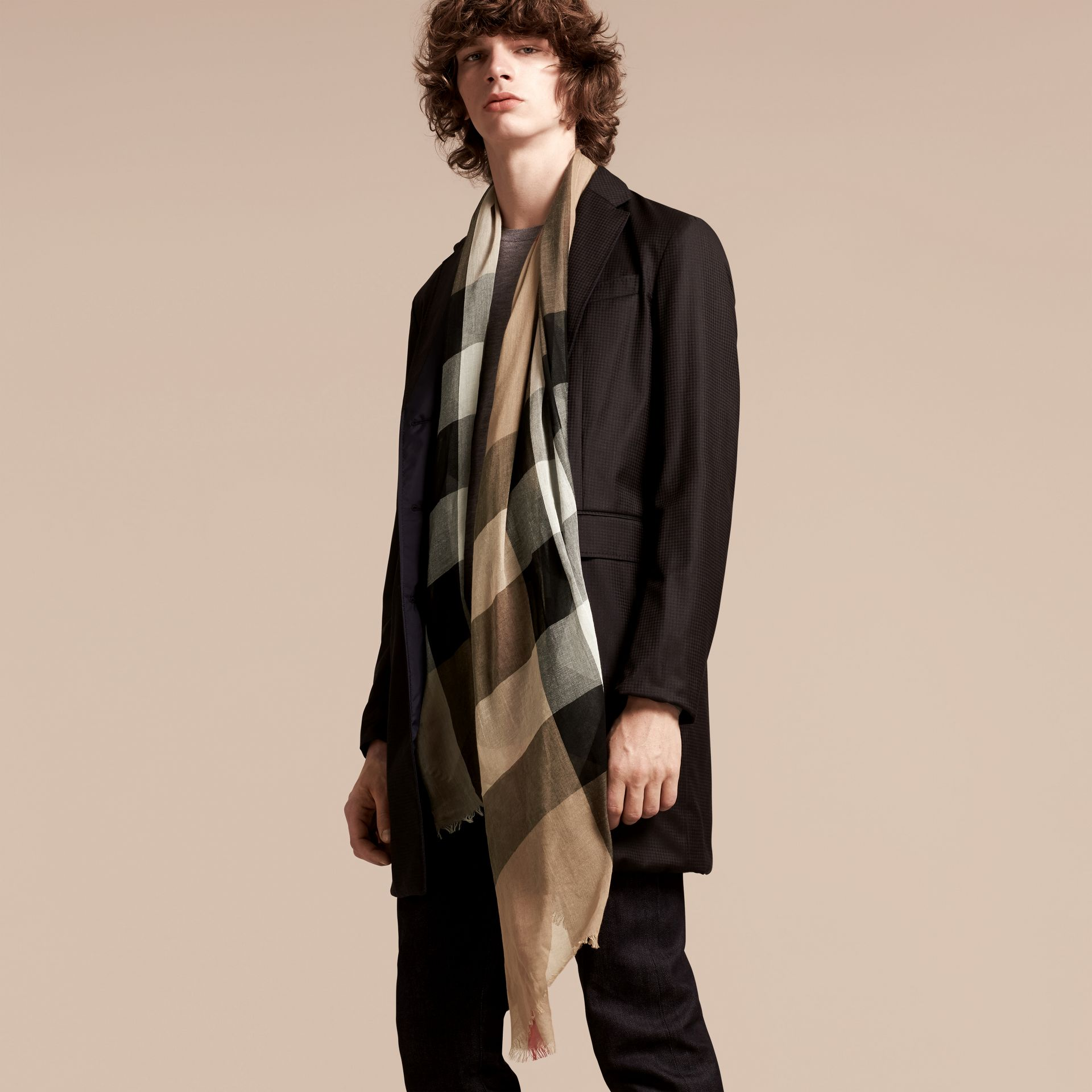Check Modal Cashmere and Silk Scarf in Camel | Burberry - gallery image 3