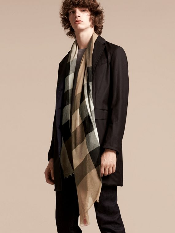 Check Modal Cashmere and Silk Scarf in Camel | Burberry - cell image 3