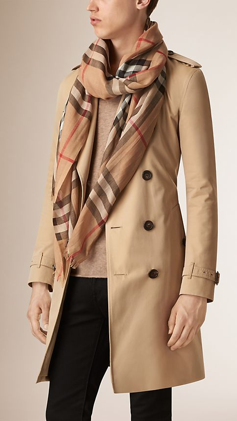 Camel check Lightweight Check Wool and Silk Scarf - Image 3