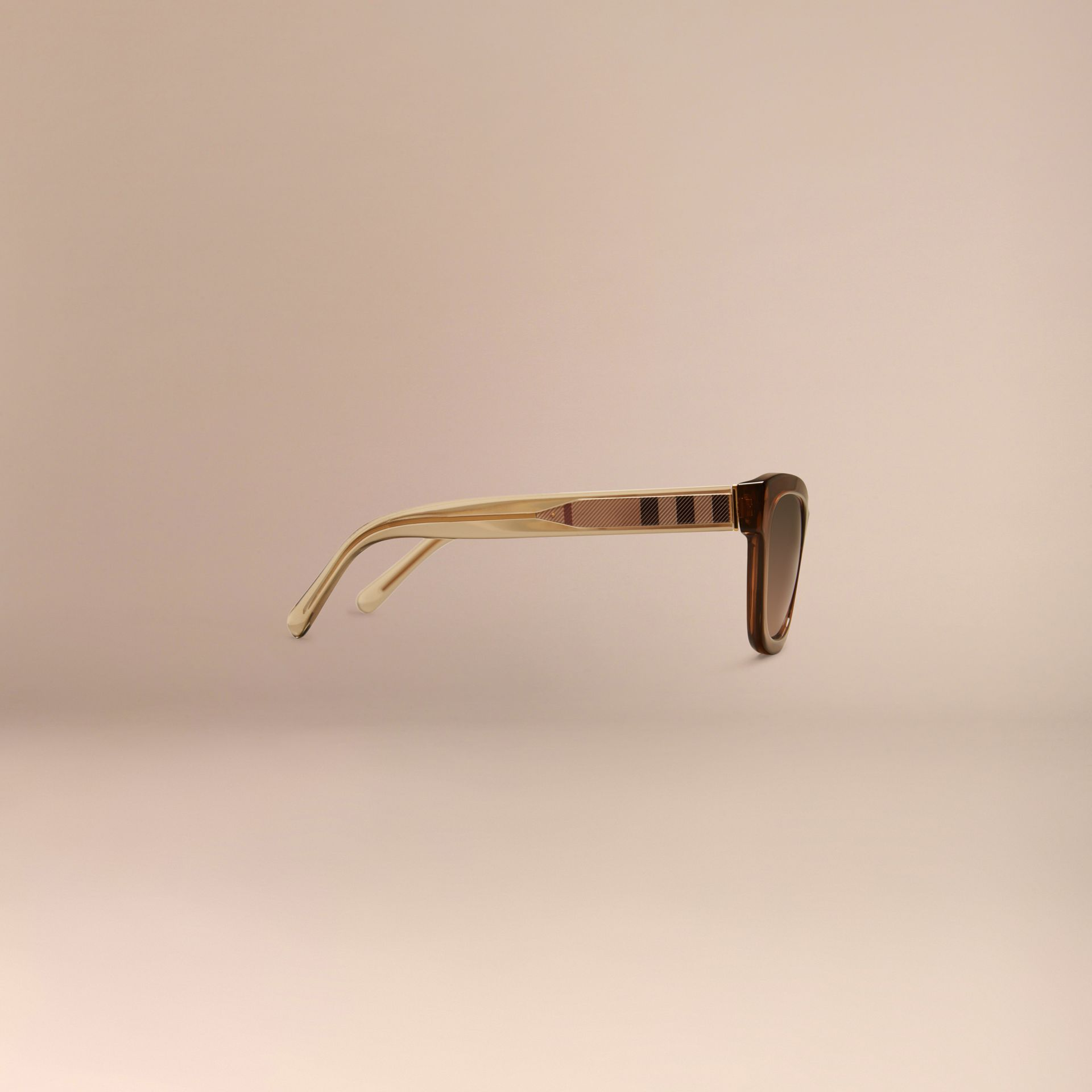 Taupe brown Check Detail Cat-eye Sunglasses Taupe Brown - gallery image 6