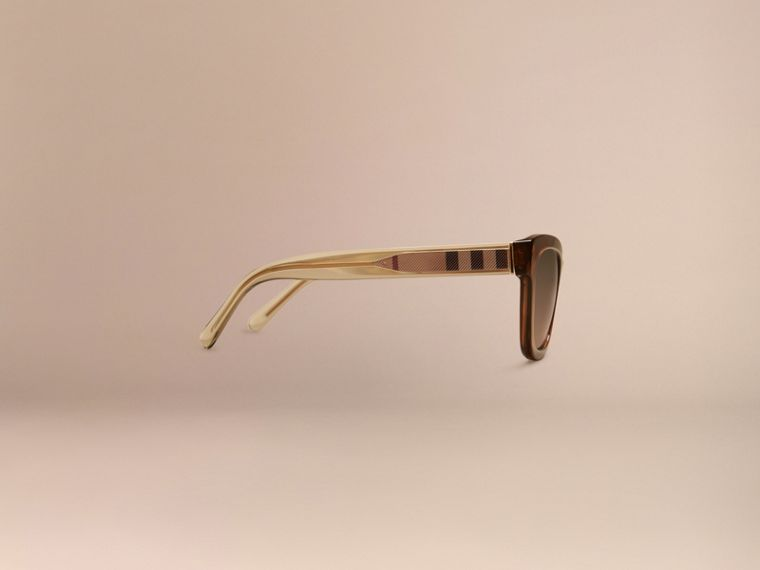 Taupe brown Check Detail Cat-eye Sunglasses Taupe Brown - cell image 4