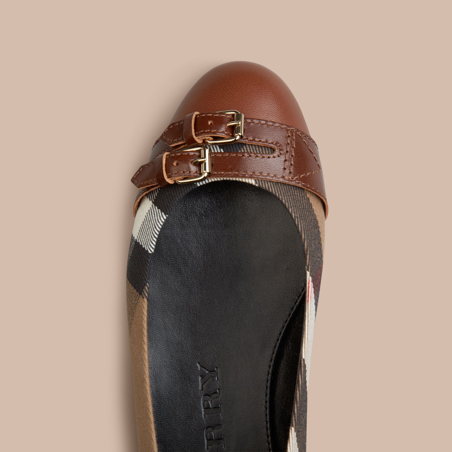 Bridle House Check Ballerinas in Dark Tan - gallery image 2