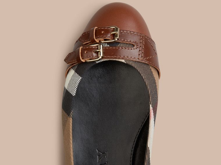 Bridle House Check Ballerinas Dark Tan - cell image 1