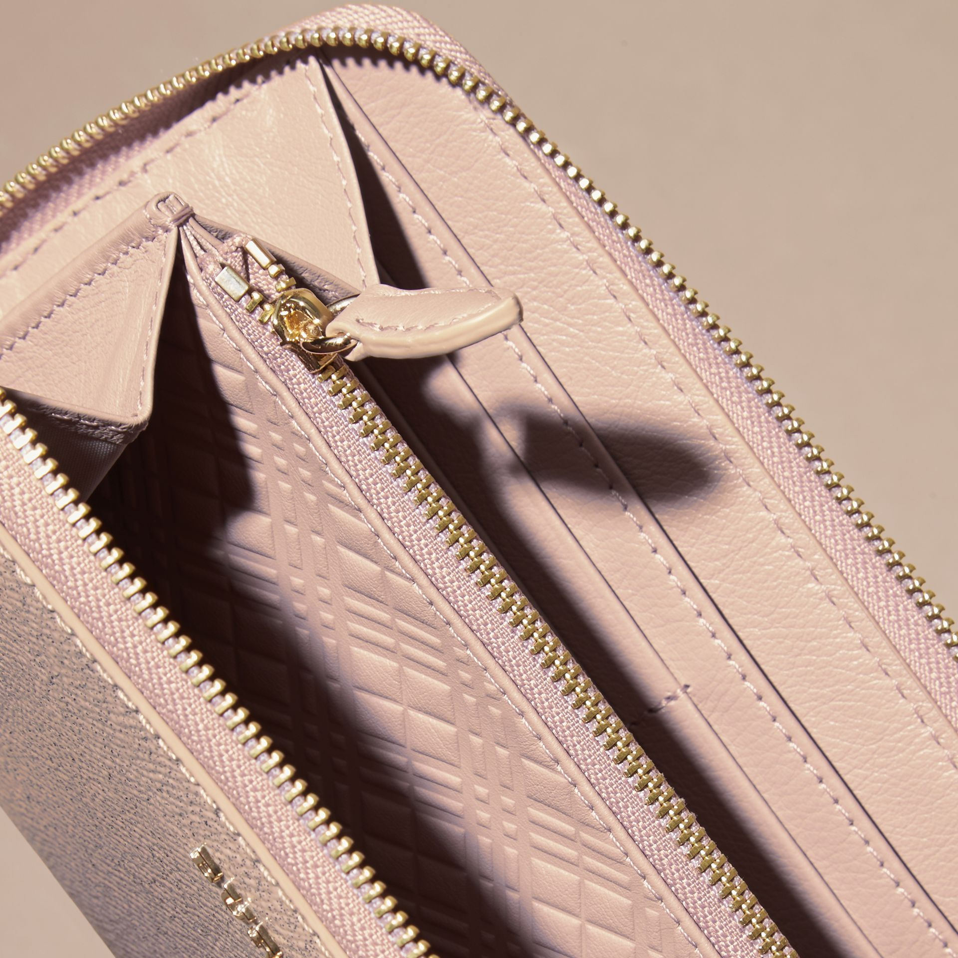Glitter Patent London Leather Ziparound Wallet in Pale Orchid - gallery image 5